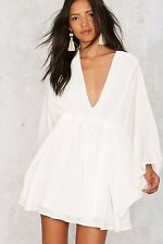 Nasty Gal Ambrosia Plunging Mini Dress in White Size - Small Made in USA 🇺🇸