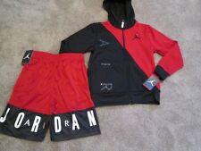 NEW Boys NIKE  2Pc OUTFIT AIR JORDAN Zip Black Hoodie+Red Shorts YMD FREE SHIP