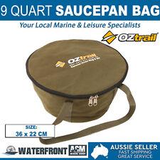 OZtrail 9 Quart Camp Oven Bag Brown Canvas Campfire Cookware Iron Pot Storage