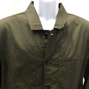 NWT-Men's PAPER DENIM & CLOTH Olive Green Button Soft Tailored Light Jacket M