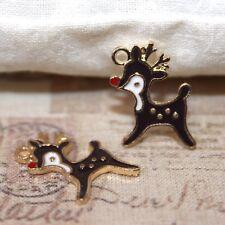 Mignon Gold Tone émaillé Rudolph Renne de Noël Charms avec nez rouge x5