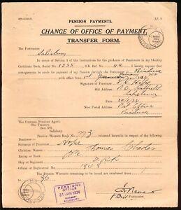 S. RHODESIA 1934, PENSION PAYEMENT DOC. WITH M.O. SALISBURY S.R. POSTMARKS #B206