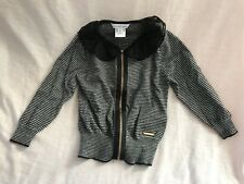 Little Marc Jacobs Knit Lace Collar Stripe Girls Zip Cardigan Sweater Cute 2 /86