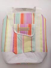 Tupperware Tall Insulated Lunch Bag, Striped, Lavendar/Orange/White