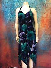 AGB Sleeveless Halter Dress Padded Cups Handkerchief Hem Purple / Turquoise Sz 8