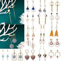 Boho Geometric Pearl Long Tassel Dangle Drop Stud Earrings Hook Women Jewelry