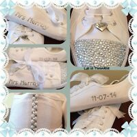 Bridal Wedding Shoes/trainers/pumps Personalised Size 3-8