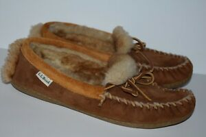LL Bean Men's Mocassins Brown Shearling Lined Suede Slippers Size 9M
