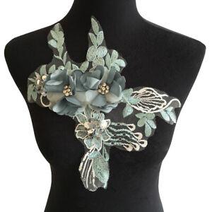 Lace Collar Embroidery Applique Flower Mesh Yarn Sewing wedding Dress Decor DIY
