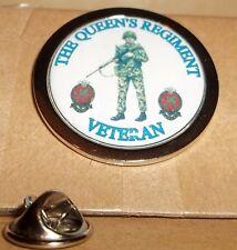 H M Armed Forces The Queen's Regiment Veteran Lapel pin badge