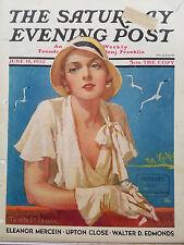 1932 Saturday Evening Post Cover Woman Seagulls Sea Gulls Tempest Inman Art