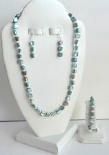 4 PIECE HANDCRAFTED-AQUA MOTHER OF PEARL NECKLACE, BRACELET & EARRINGS SET-NICE