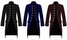 New Mens Steampunk Vintage Gothic Jacket Velvet Victorian Frock Coat / Tailcoat