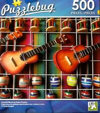 """Jigsaw Puzzle 500pc Colorful Mexican Guitar Display 18.25X11"""" NEW Puzzlebug#TY86"""