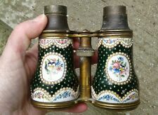 Rare Antique Hand Painted Enamel Brass Pearl Opera Glasses Binoculars For Parts