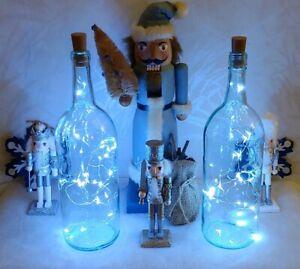 LOT 2 LIGHTED GLASS WINE BOTTLES WHITE LED TABLE LAMP HOME BAR DECOR CHRISTMAS