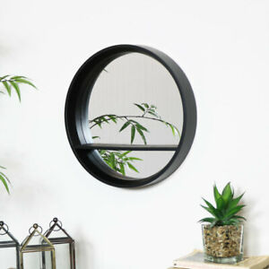Round Black Mirrored Shelf Unit circle bathroom storage home decor scandi
