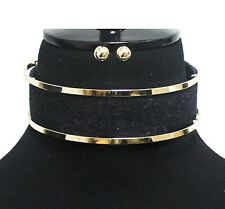"1.25"" Gold Tone Metal and Black Jean Denim Choker Necklace Adjustable"