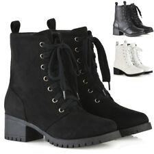 Womens Lace Up Ankle Boots Low Heel Platform Ladies Grip Sole Combat Shoes 3-8
