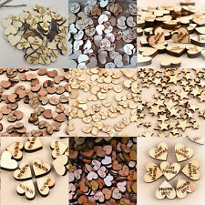100pcs Rustic Wooden Wood Love Heart Wedding Table Scatter Decoration DIY Crafts