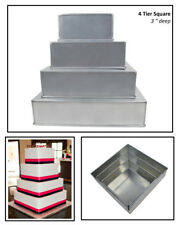 "4 TIER CHRISTMAS SQUARE WEDDING CAKE TINS 6""  8"" 10"" 12"""