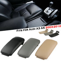 Car PU Leather Center Console Armrest Lid Cover For Audi A3 8P 03-13 Black Grey