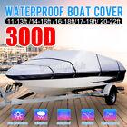 11 -22 300d Heavy Duty Waterproof Boat Cover Gray V-hull Trailerable Beam