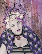 Queen Bee Crown Tree Branch Roses Peacock Feathers - ACEO Archival Print 4 of 10