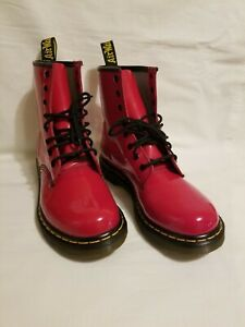 Dr Martens Air Wair Womens Size 10 Red Patent Leather Boots Lace up EU 42/UK 8