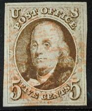 US Stamps #1 Used VF/XF 5 Cent 1847 Franklin 4 margins, lovely red cancel
