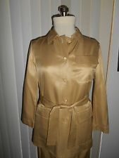 SALVATORE FERRAGAMO GOLDEN 100% SILK PANTS SUIT SIZE 8 EXQUISITE.!