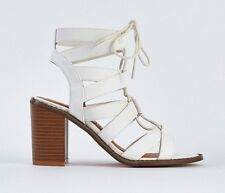 SIZE 6 39 WHITE MID HIGH HEEL LACE UP BLOCK HEEL GLADIATOR SANDALS SHOES BNWB