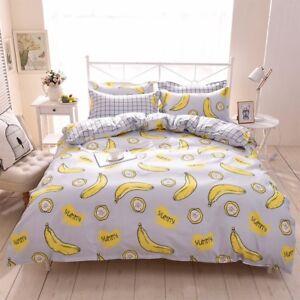 BANANA GRAY KIDS TEENS Duvet Cover Bedding Set (Pillowcases + Flat Sheet)- TWIN