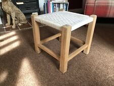 SEAGRASS Seat Stool Footstool Vintage Wood Ropework Woven