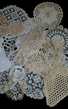 Lot of 19 Antique Vintage Lace Netting Net Pieces Cutters Diy Project Fabric Vtg