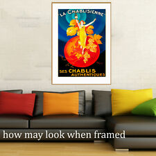 """Vintage art poster chablis champagne  painting France yellow for glass frame 36"""""""