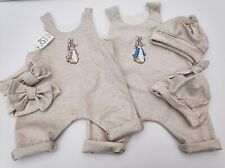Peter Rabbit. Natural baby clothes, romper or hat or headband. Cotton linen.
