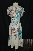 NEW DANNY AND NICOLE Size 12 Dress Beige Blue Pink Floral Cap Sleeve Midi