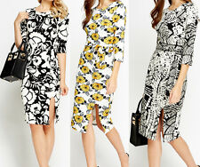 COLLECTION LONDON Textured Print Midi Office Dresses 10 12, 14, 16,18