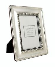 """Italian Sterling Silver Picture Frame 3.5x5"""" Photo Wood Back New Antique Effect"""