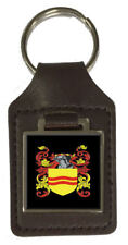 Starrett Family Crest Surname Coat Of Arms Brown Leather Keyring Engraved