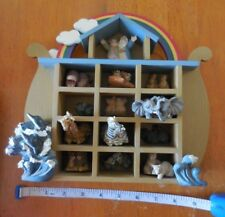 NOAHS ARK 12 RESIN ANIMALS, NOAH, & WIFE