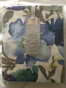 John Lewis Bloom design blue floral king duvet set cotton sateen 200TC BNIOP
