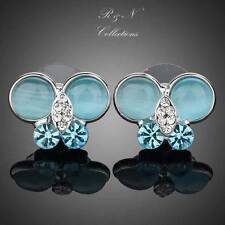 Platinum Plated Made with Swarovski Crystal Blue Butterfly Stud Earring E251