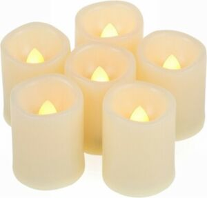 EcoGecko Set of 6 Indoor/Outdoor Votive Flameless LED Candles with Timer, 400 hr