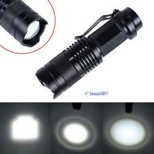 Black CREE T6 LED Mini Flashlight 14500 AA Torch 2000LM Zoomable Lamp Light BS