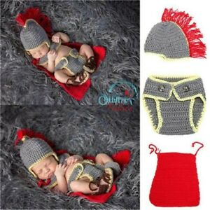 Crochet Newborn Photography Prop Knitted Superhero solider Photo Shoot Costume