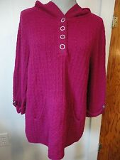 CLEARANCE! New CJ Banks $69 Fuchsia Button Front Hooded Sweater Plus Size 1X