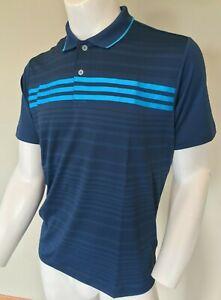 Adidas Golf Boys Puremotion Climalite 3-Stripe Polo Shirt Blue TB1230S4 NEW