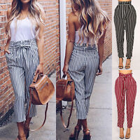Women's Casual High Waist Harem Cigaratte Pants Paper Bag Loose Striped Trousers